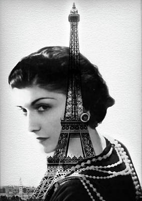 Chanel Painting - Coco Chanel - Paris - Eiffel Tower - By Diana Van by Diana Van