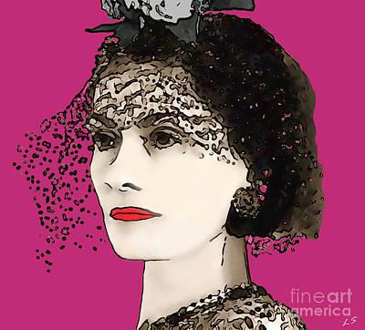 Drawing - Coco Chanel by Sergey Lukashin