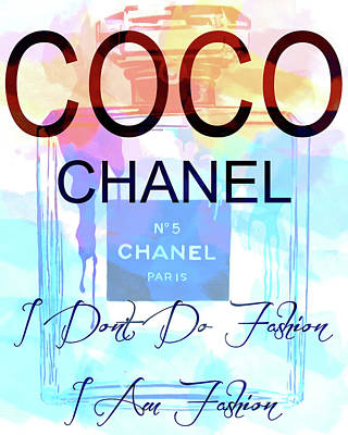 Mixed Media - Coco Chanel Watercolor Quote by Dan Sproul