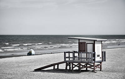 Photograph - Cocoa Beach - Life Guard Shack - Florida - B/w by Greg Jackson