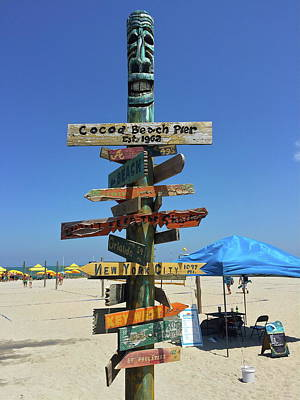 Photograph - Cocoa Beach Pier Sign by Denise Mazzocco