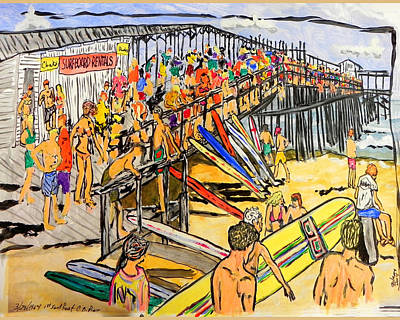 Gods Sunshine Art Painting - Cocoa Beach Pier/surf Festavil by W Gilroy
