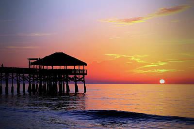 Photograph - Cocoa Beach Pier's New Tiki Hut Sunrise by Carol Montoya