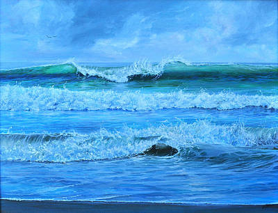 Art Print featuring the painting Cocoa Beach Surf by AnnaJo Vahle