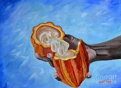 Painting - Cocoa Pod In Hand V2 by Laura Forde