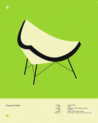 Infographic Digital Art - Coconut Chair 1955 by Jazzberry Blue