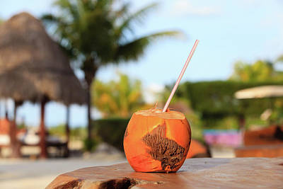 Sea Photograph - Coconut Drink With Straw In Tropical Cafe by NadyaEugene Photography
