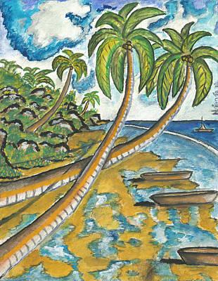 Kenyan Painting - Coconut Harbor by Ken Nganga