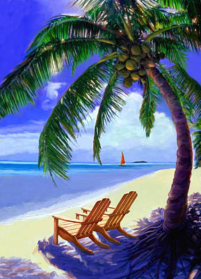 Painting - Coconut Palm by David  Van Hulst
