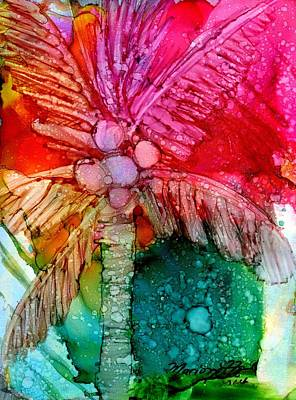 Alcohol Ink Painting - Coconut Palm Tree by Marionette Taboniar