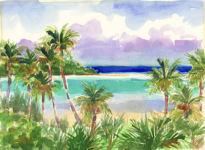 Painting - Coconut Palms And Lagoon, Aitutaki by Judith Kunzle
