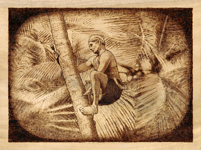 Pyrography Pyrography - Coconut Plucking by Conrad  Pinto
