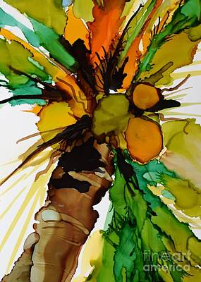 Alcohol Ink Wall Art - Painting - Coconut Rum by Marla Beyer