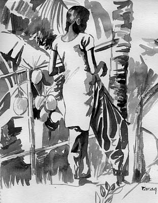Drawing - Coconut Seller From Alleppy by Parag Pendharkar