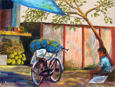 Painting - Coconut Stand by Art Nomad Sandra  Hansen