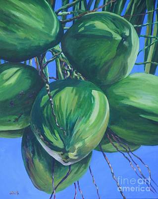 Caribbean Painting - Coconuts In A Palm Tree by John Clark