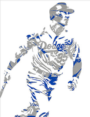 Los Angeles Dodgers Mixed Media - Cody Bellinger Los Angeles Dodgers Pixel Art 1 by Joe Hamilton