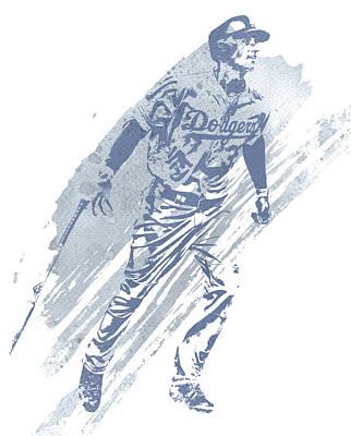 Los Angeles Dodgers Wall Art - Mixed Media - Cody Bellinger Los Angeles Dodgers Water Color Art 2 by Joe Hamilton