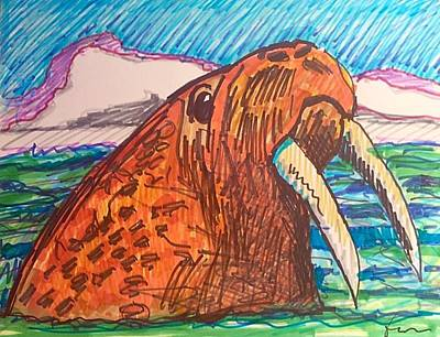 Drawing - Cody's Critters - Waldo The Walrus by George Frayne