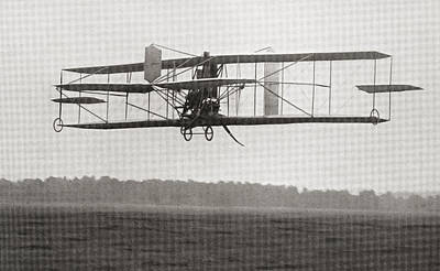 Franklin Drawing - Cody S Biplane In The Air In 1909 by Vintage Design Pics