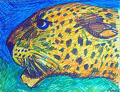 Drawing - Cody's Critters - Louie The Leopard by George Frayne