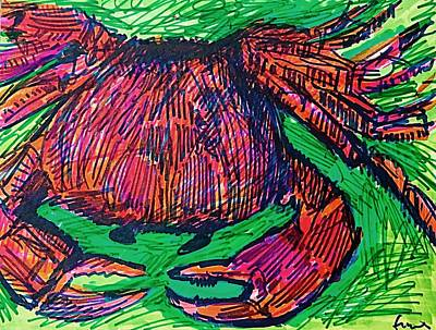 Drawing - Cody's Critters - Crabby by George Frayne