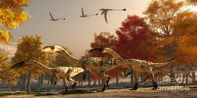 Triassic Painting - Coelophysis Hunting by Corey Ford