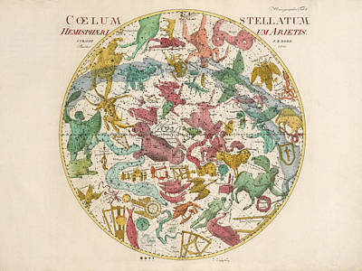 Drawings Royalty Free Images - Coelum Stellatum - Map of the Sky - The Heavens - Constellations - Celestial Chart - Astronomy Royalty-Free Image by Studio Grafiikka