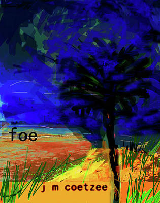 Blue Abstract Mixed Media - Coetzee Foe Novel Poster  by Paul Sutcliffe