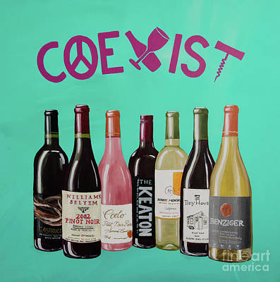 Glass Of Wine Painting - Coexist by Deb Breton