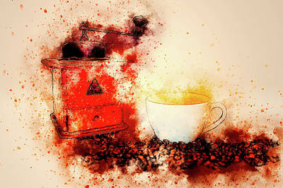 Mixed Media - Coffe Grinder by Ractapopulous