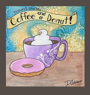 Donuts Drawing - Coffee And A Donut by Lorena Calabro