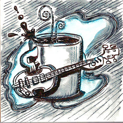 Hofner Painting - Coffee And Bass Jams by Ray Hofstedt