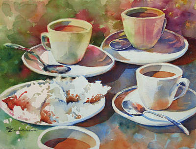 Cafe Du Monde Painting - Coffee And Beignets by Sue Zimmermann
