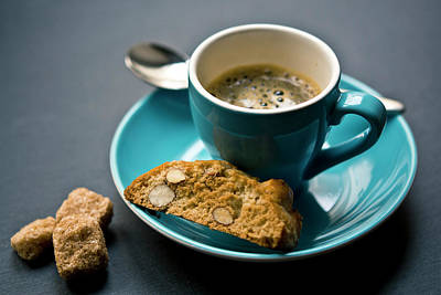 Espresso Photograph - Coffee And Biscotti by Happy Home Artistry