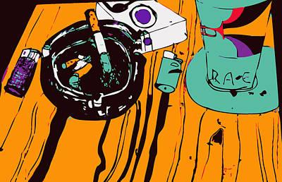 Colourfull Digital Art - Coffee And Cigarettes by Dragana  Gajic