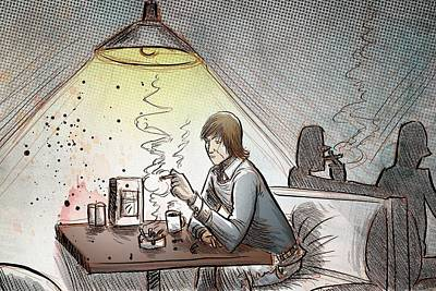 Contemplative Drawing - Coffee And Cigarettes by Joseph Badon