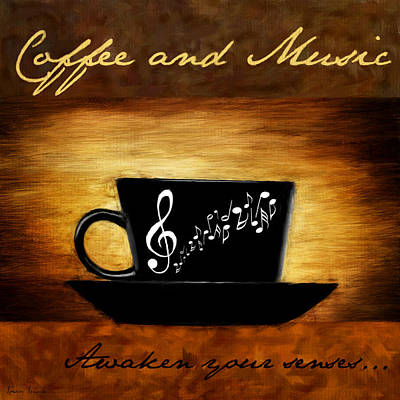 Arabica Digital Art - Coffee And Music by Lourry Legarde