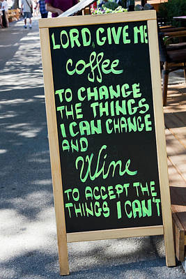 Photograph - Coffee And Wine Sign by Sally Weigand