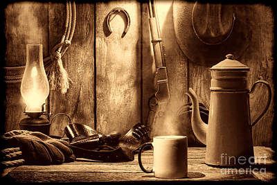 Photograph - Coffee At The Cabin by American West Legend By Olivier Le Queinec