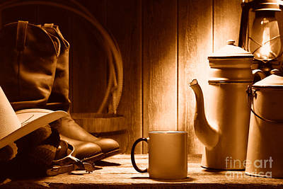 Chuck Wagon Photograph - Coffee At The Ranch - Sepia by Olivier Le Queinec