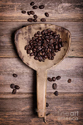Food And Drink Photograph - Coffee Beans In Antique Scoop. by Jane Rix