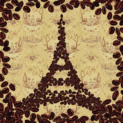 Painting - Coffee Beans Watercolor Eiffel Tower French Roast by Irina Sztukowski