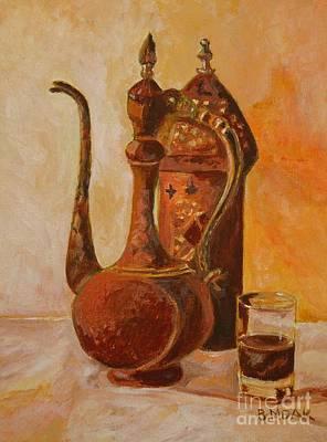 Table Cloth Painting - Coffee Break by Barbara Moak