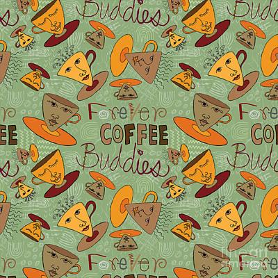 Pattern Painting - Coffee Buddies by Darlene Seale