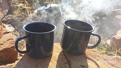 Wood Fired Stoneware Photograph - Coffee By The Lake by Scott D Van Osdol