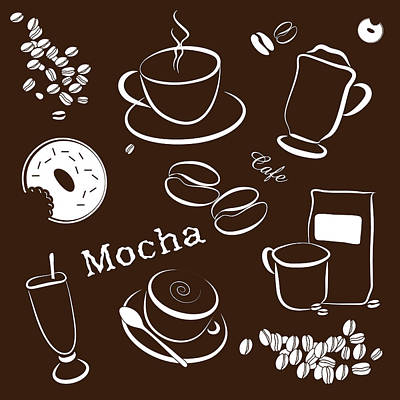 Drawing - Coffee/cafe Pattern Background by Serena King