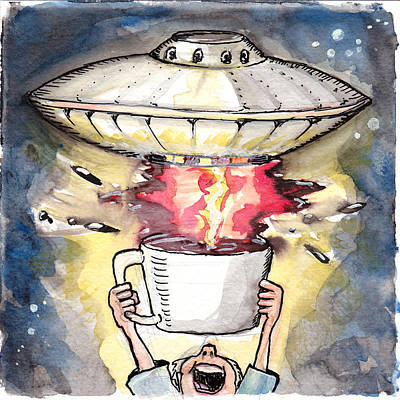Space Ships Drawing - Coffee Cup And Saucer by Ray Hofstedt