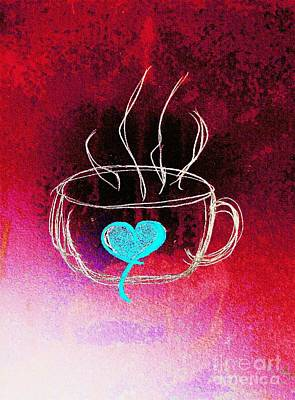 Espresso Drawing - Coffee Cup Love Abstract by Scott D Van Osdol