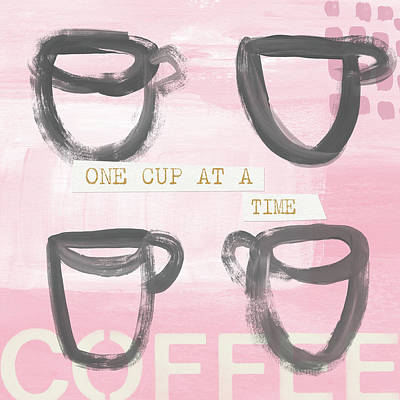 Mixed Media - Coffee Cups Pink- Art By Linda Woods by Linda Woods